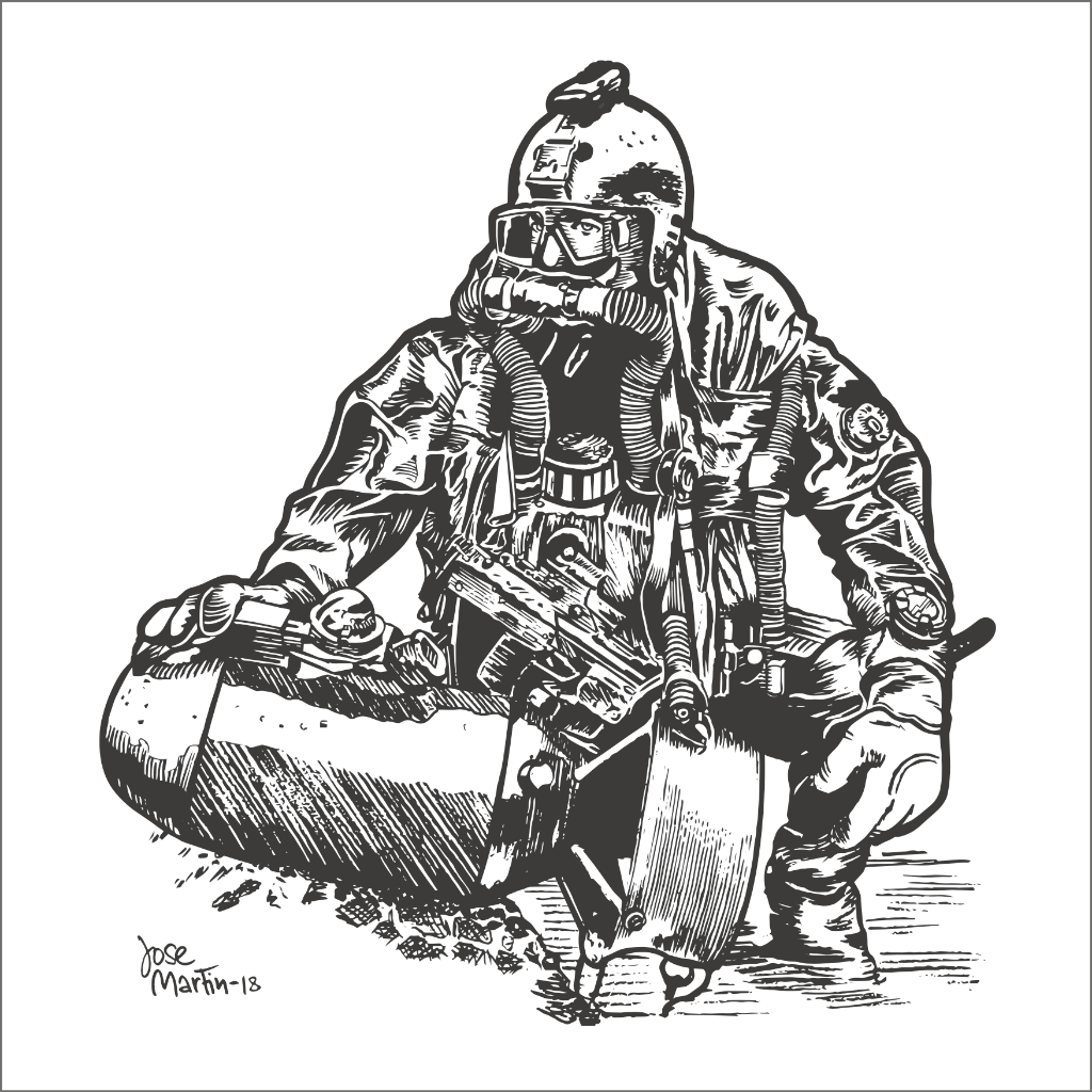 Navy Diver Ink Drawing